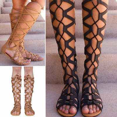 AU Womens Knee High Cut Out Lace Up Ladies Flat Gladiator Summer Sandals Shoes
