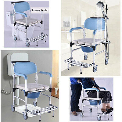 Commode Wheelchair Bedside Toilet Shower Waterproof Fold-up Footrest Wheel Chair