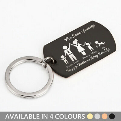 Personalised Fathers Day Gift Key Ring Family Portrait Custom Army Card Keychain