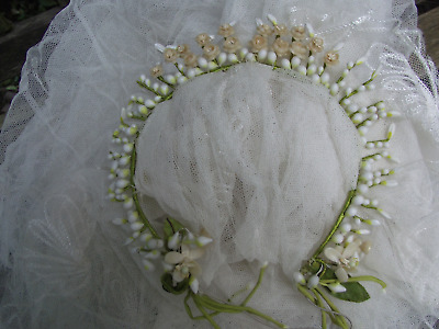 Gorgeous Antique wax  flower wedding headress tiara and veil