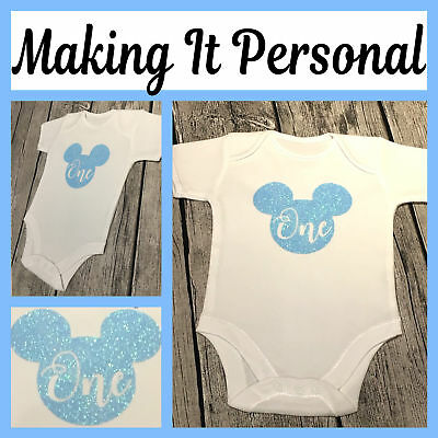 Boys 1st Birthday Cake Smash Bodysuit Vest Blue Or Red Mickey Mouse inspired