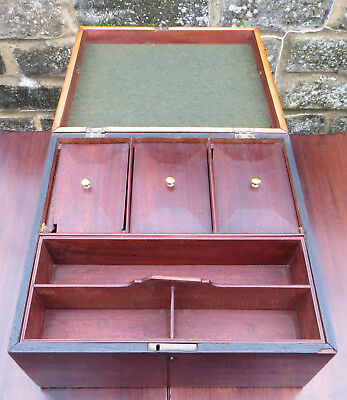 Antique Mahogany Large Work Box / Sewing Box / Tea Caddy with pull out tray