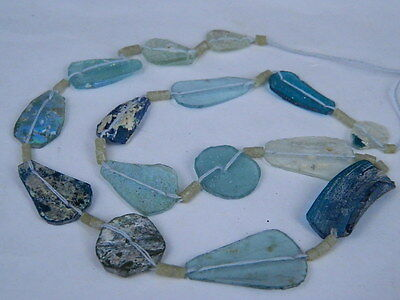"Ancient Roman Glass Fragments Beads Strand C.200 Bc """"k737"""""