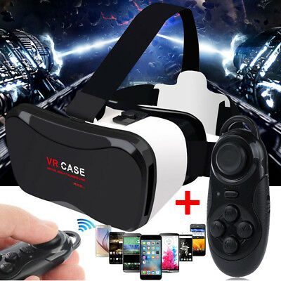 VR Virtual Reality Headset 3D Glasses+Gamepad Controller Kits For iPhone Samsung