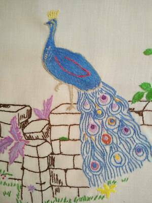 Gorgeous Peacock & Tail feathers - Vintage Hand embroidered Picture/Panel