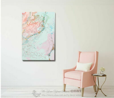 Pink Abstract Stretched Canvas Print Framed Wall Art Home Office Shop Decor Gift