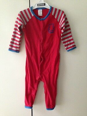 Bonds Vintage Red Teddy Bear Stretchie Suit Boys Summer Unisex Baby Size 0 Rare