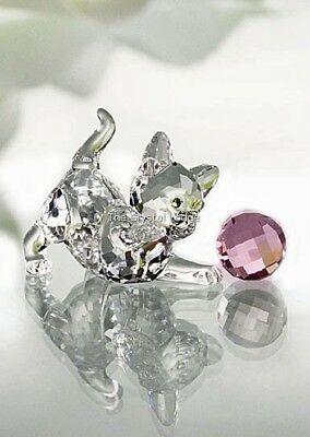 Swarovski Crystal Kitten Standing With Pink Wool 631856 Mint Boxed Retired Rare