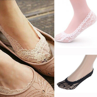 Women No Cut Socks Girls Ankle Lace Low Invisible Antiskid Footlet Ladies Boat