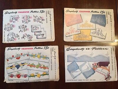 1940s Vintage Simplicity Embroidery Transfer Patterns Lot Of 4