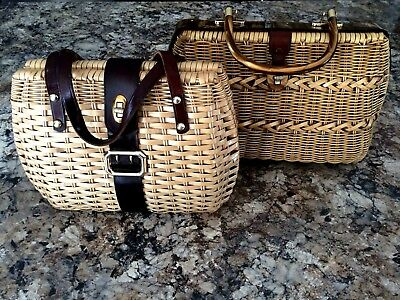 Lot Of 2 Vtg/retro 1960's Wicker Purses~Leather And Opalescent Lucite Accents