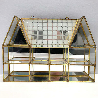 Vintage Miniature Brass Glass 3 Shelf Hangin House Shape Display Case Curio