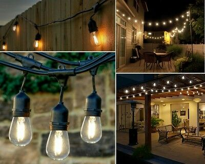 48 Ft Led String Lights Outdoor Patio Yard Commercial Grade Waterproof Bulbs New