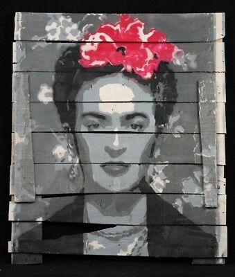 Frida Kahlo Hanging Wood Spray Painting Mexican Folk Art Home Decor Rustic Gry 1