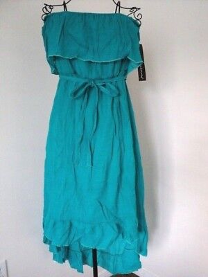 NWT Teal Strapless Dress by Mlle Gabrielle, sz L