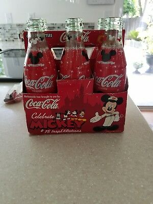 Mickey Mouse 75 InspEARations Disney Coke Coca Cola Bottle unopen - full 6 pack!