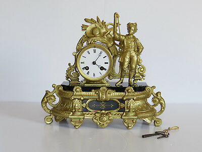 Antique French Ormolu Clock with Figure