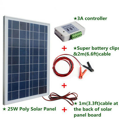 25W 12V Portable Poly Solar Panel Solar System Kit for outdoor use Camping Hike