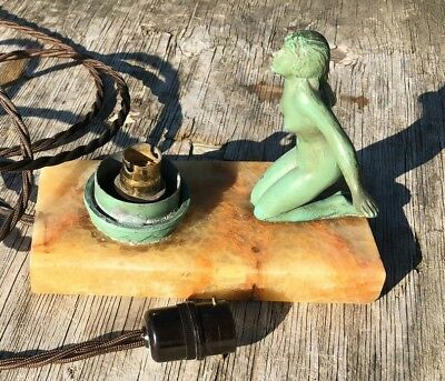 Table Lamp Mood Art Deco Lady Figure Stunning Marble Light Desk Retro Vintage