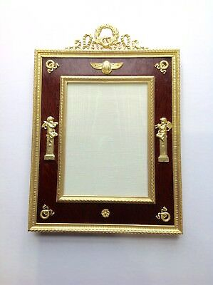 French dore bronze antique picture frame. Mahogany matte.marked- France