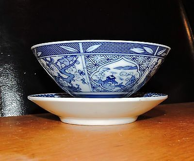 Blue and White Oriental Bowl and Plate