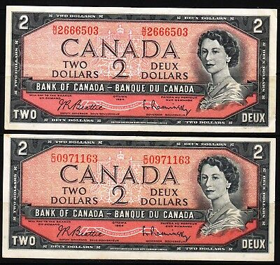 Canada - 1954 Bank of Canada 2x2 Dollar Banknote P76b  VF+++ Condition QEll