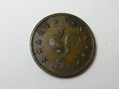 1863 Christian Rauh,   Chicken Token.** Awesome Coin**    Ck  My Other Listings!