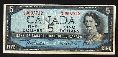Canada - 1954 Bank of Canada 5 Dollar Banknote P77b  VF Condition QEll