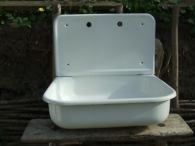 Sink. Vintage Porcelain Enamel Sink. Sink with Drainboard. Antqiue kitchen sink