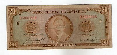 Costa Rica 1968 Banco Central 20 Colones  Tdlr  Issued Note P-231