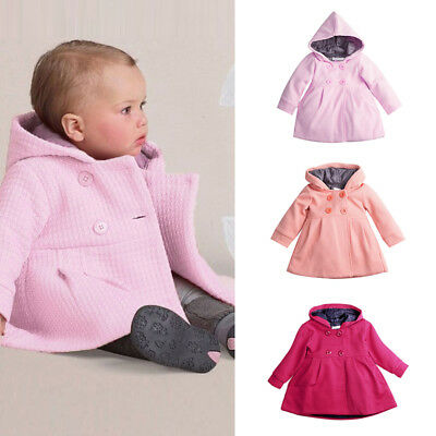 Newborn Baby Kids Girls Winter Warm Trench Coat Hoodie Outerwear Jacket 0-3Y Hot