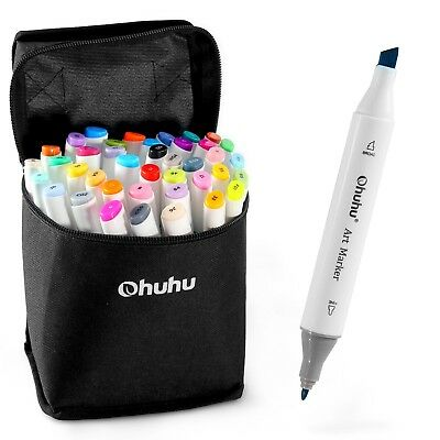 Ohuhu 40 Colors Dual Tips Permanent Marker Pens Art Markers with Carrying Case