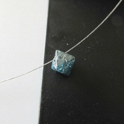 Wholesale Blue Octahedron Drilled Crystal Rough Diamond Lot 1Pc 5.5-6mm DDS200