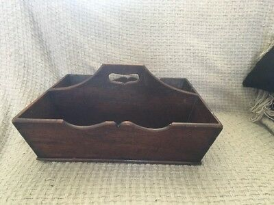 Vintage Antique Mahogany Wooden Butler Maid Housekeeper Cutlery Tray Caddy