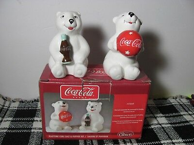 Official Licensed Coca-Cola Playtime Polar Cubs Salt And Pepper 2002 Gibson Nib