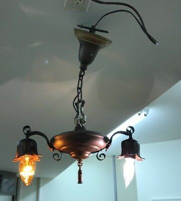 Antique Art Deco Nouveau Pan Arm Light Brass Ceiling Lamp Hall Bedroom Victorian