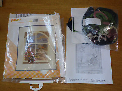 Needlepoint Tapestry Kit Bundle one partially Started Pako Window Sue Hawkins