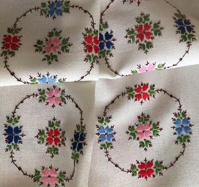 """Vintage Hand Embroidered Colourful Florals Linen Tablecloth 29"""" X 32"""""""
