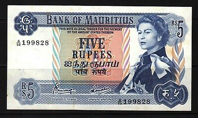 Mauritius - 1967 Bank of Mauritius  5 Rupees P30c Banknote XF++++ Condition