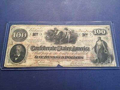1862 $100 Confederate Note with In Memoriam On Reverse