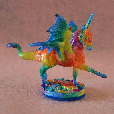 Awesomely Customized Mini Whinnie Breyer Dragon Horse by TnT OOAK Tie Dye Rainbo