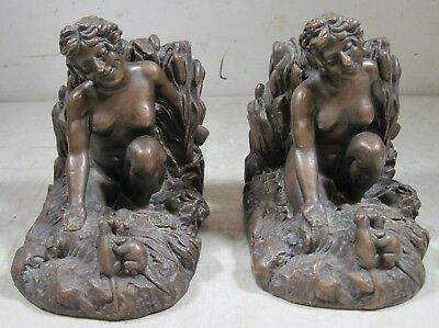 Antique 1900's KBW Kathodian Bronze Clad Bookends Nude Woman Mice Artbronz USA