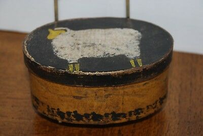 Authentic Hanway Mill house paper mache painted box with sheep, primitive