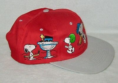 New Vintage Snoopy as Many Sports Characters--Baseball Cap/ Hat---Red & Gray