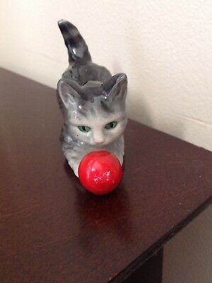 Vintage Goebelcat figurine with red ball