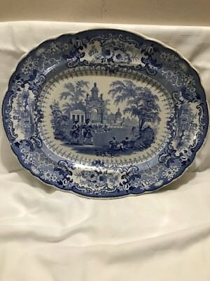 ANTIQUE STAFFORDSHIRE T. MAYER BLUE WHITE PLATTER OLYMPIC THE SLING 1830s
