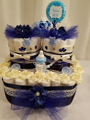 Baby Boy Diaper Cake,Baby Shower Table Centerpiece,Two Tier