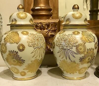 "VINTAGE GINGER JARS PORCELAIN HAND PAINTED GILT YELLOW 6"" MATCHING PAIR 1950's"