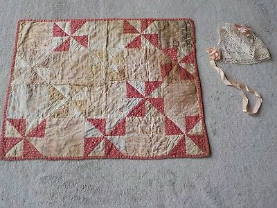 Antique Pin Wheel Baby Quilt with Crochet Bonnet