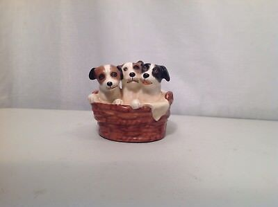Vintage Goebel KT 145 Puppies In A Basket Porcelain Figurine FULL BEE